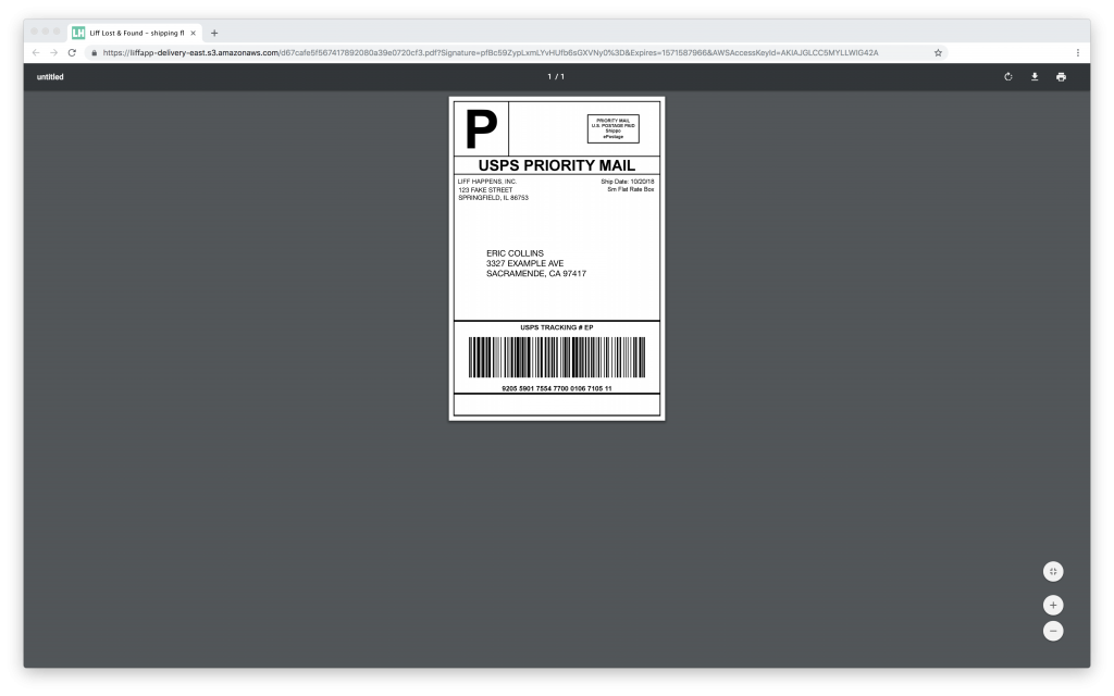 Example of Liff Shipping Label