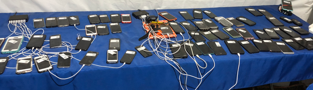 Table of found phones from the Firefly Music Festival