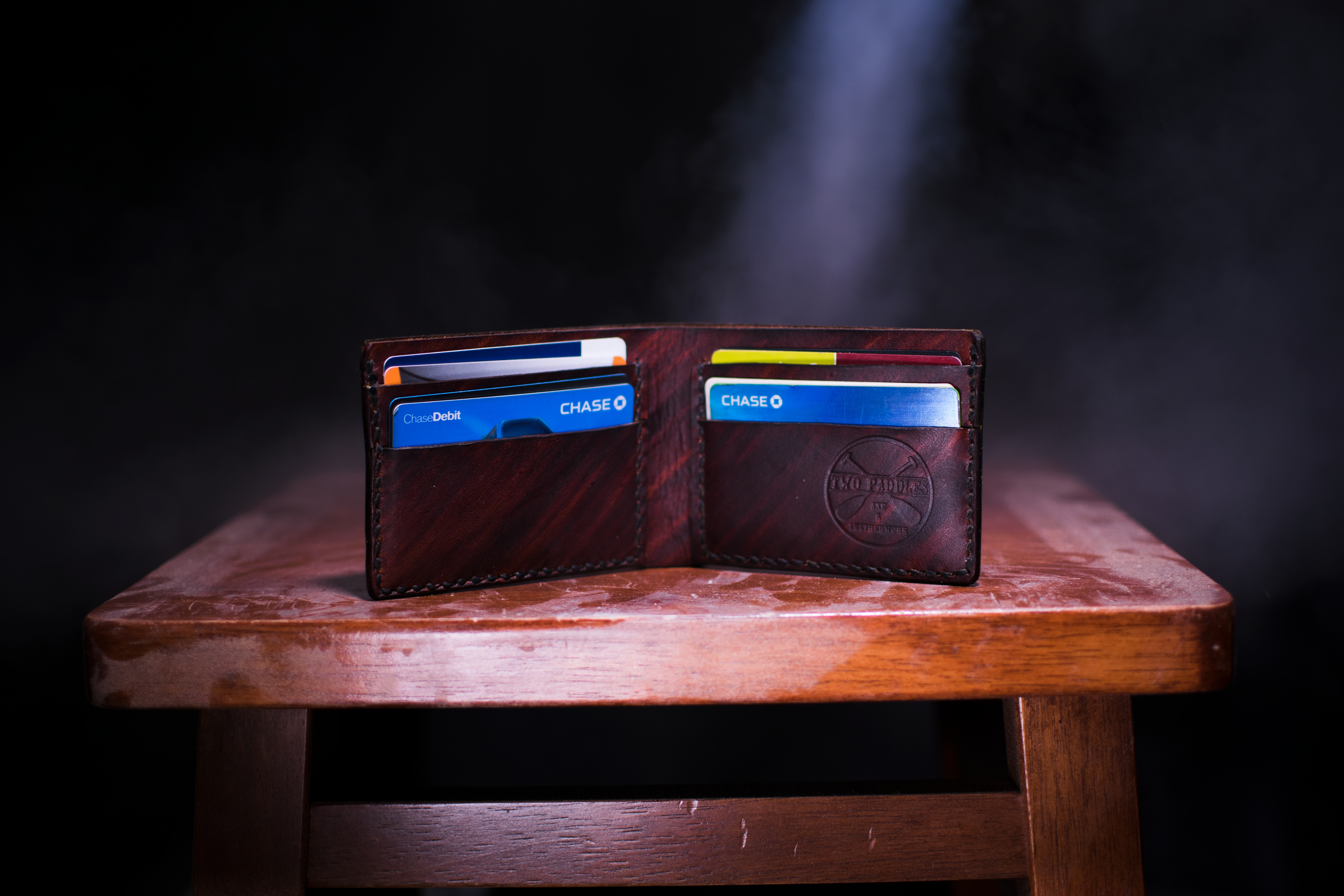 Lost wallet on a stool