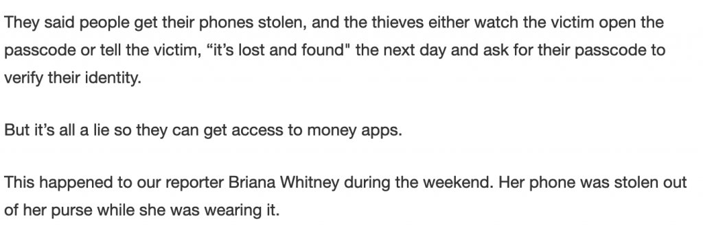 Reporter suffering from Theft in Lost and Found fro giving out a passcode.