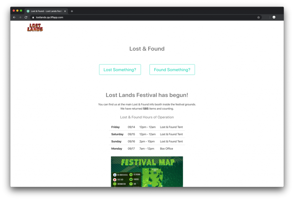 Lost and Found Info Page